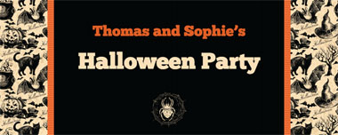 black cats and spiders party banner