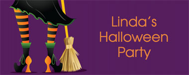 witch and broomstick party banner