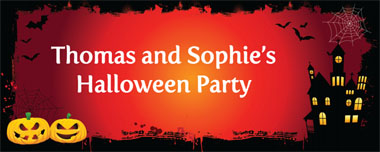 bats and pumpkins party banner
