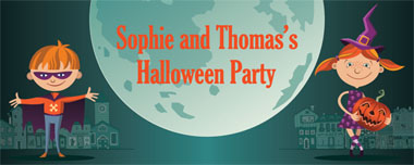 halloween boy and girl party banner