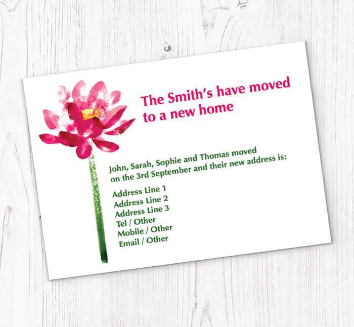 Lotus Flower Moving Cards Customise Online Plus Free Envelopes And