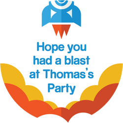 3 2 1 blast off party stickers