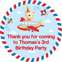 teddy bear flying party stickers