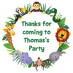 jungle animals party stickers