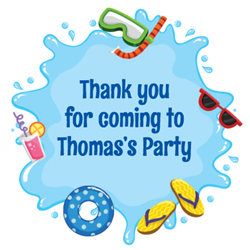 swimming splash party stickers