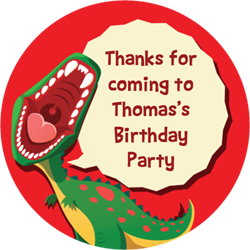 dinosaur roar party stickers