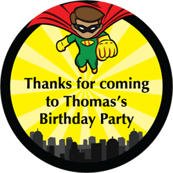 superhero party stickers