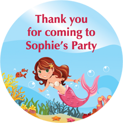 mermaid party stickers
