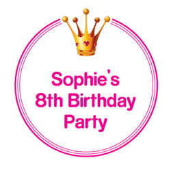 princess crown party stickers