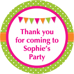 dots and bunting party stickers