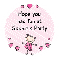little girl and hearts party stickers