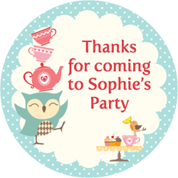 owl tea party stickers