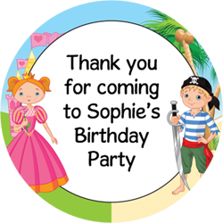 princess and pirate party stickers