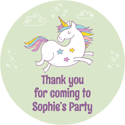 jumping unicorn party stickers