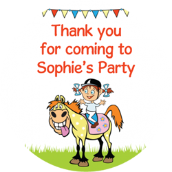 girls horse riding party stickers