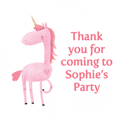 pink unicorn party stickers