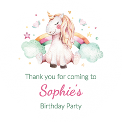unicorn dreams party stickers