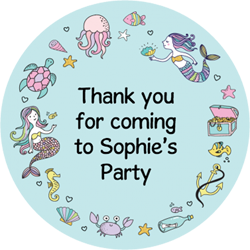 mermaid frame party stickers