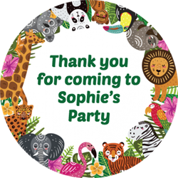 wild animals party stickers