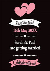black and pink save the date cards