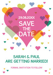 colourful hearts save the date cards