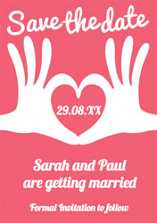 heart hands save the date cards