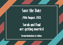 diagonal stripes save the date cards