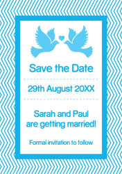 chevron birds save the date cards