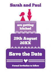 purple cake save the date cards