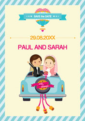 couple in car save the date cards