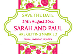 roses save the date cards