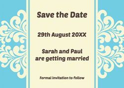 blue woodcut save the date cards