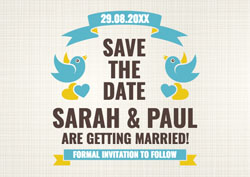 blue birds save the date cards