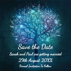 tree lights save the date cards