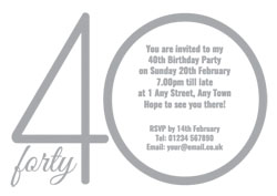 40th silver foil party invitations