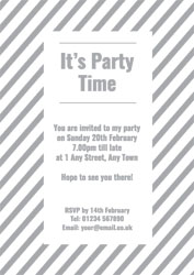 silver foil stripes party invitations
