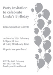 silver foil balloons party invitations