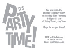 silver foil party time invitations