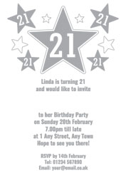 21st silver foil stars party invitations