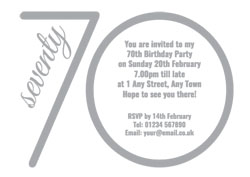 70th silver foil party invitations