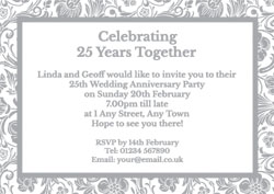 silver foil floral border invitations