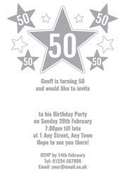 50th silver foil stars party invitations
