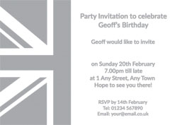silver foil union jack party invitations