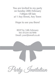 silver foil bow party invitations