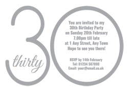 30th silver foil party invitations