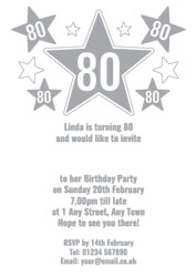80th silver foil stars party invitations