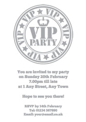 silver foil VIP stamp party invitations