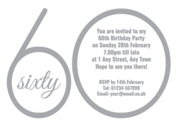 60th silver foil party invitations