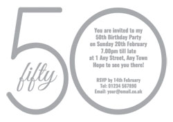 50th silver foil party invitations