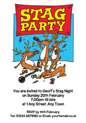 cartoon stags party invitations